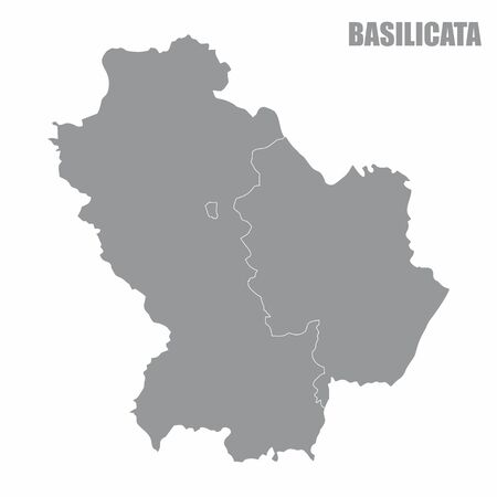 The map of the italian region of Basilicata isolated on white background