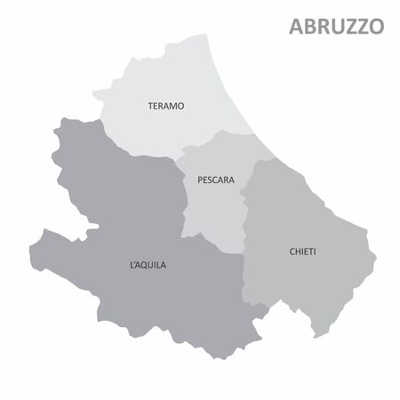 The grayscale map of the italian region of Abruzzo with labels
