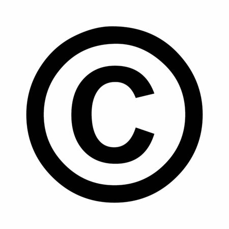 Black Copyright sign icon illustration on white background Ilustração