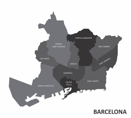 The grayscale map of Barcelona city districts