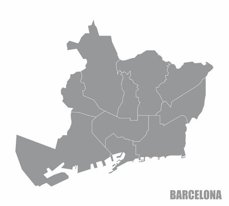 The gray map of Barcelona city districts on white background