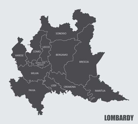 The grays map of Lombardy region with labels Vettoriali