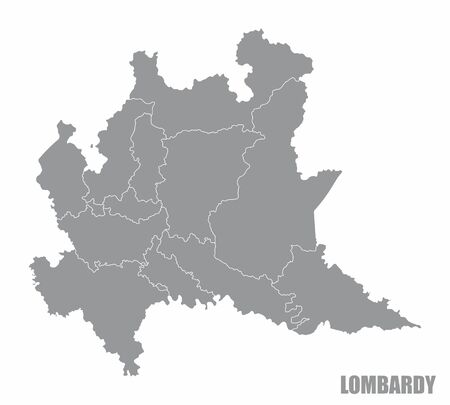 The gray map of Lombardy region isolated on white background Vectores