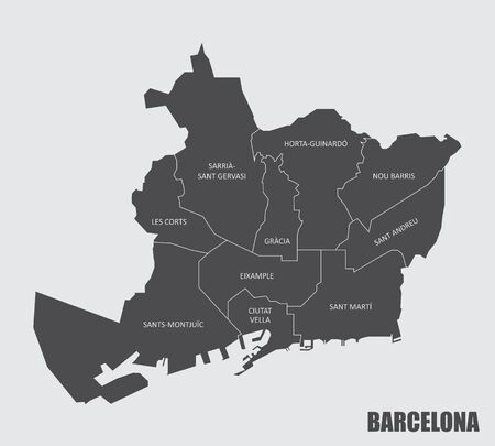The gray map of Barcelona city districts with labels Vectores