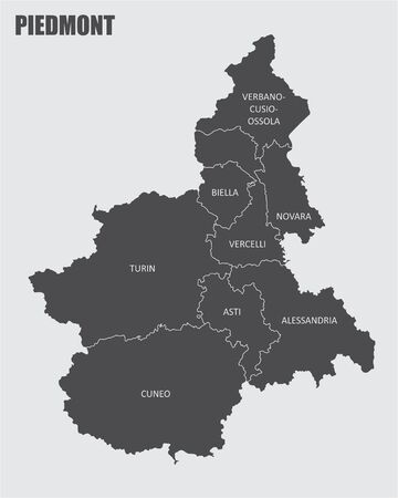 The gray map of Piedmont region with labels