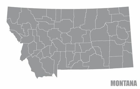 The Montana State county map isolated on white background