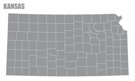 The Kansas State County Map isolated on white background Иллюстрация