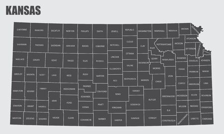 The Kansas State County Map with labels