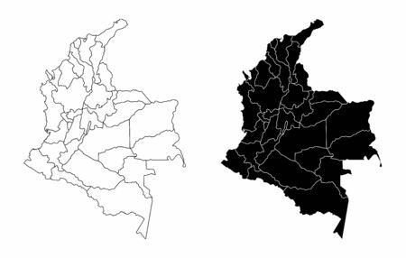 The black and white maps of the Colombia regions 向量圖像