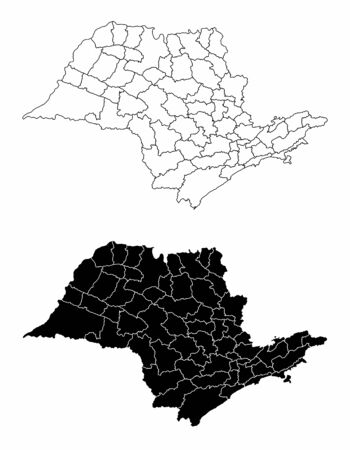 The black and white Sao Paulo State regions maps
