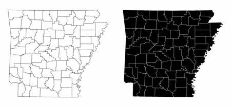 The black and white maps of the Arkansas State counties Ilustração