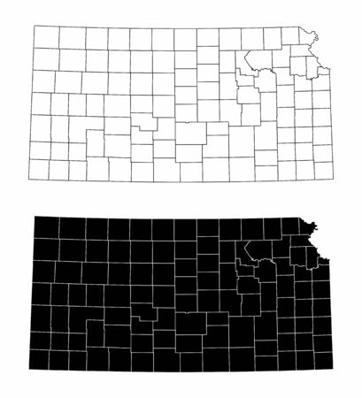 The black and white Kansas State County Maps Ilustração