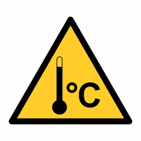 High temperature warning sign isolated on white background