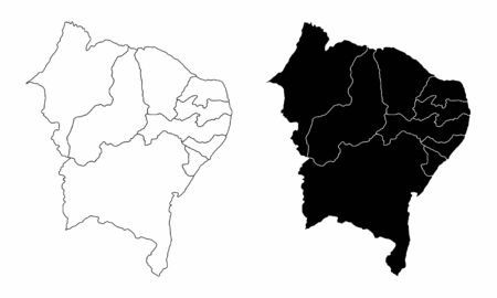 The black and white maps of the Brazil northeast region