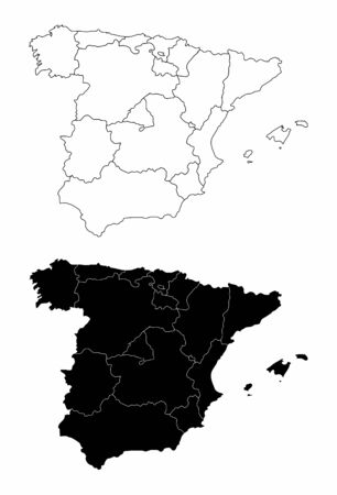 The black and white Spain regions maps