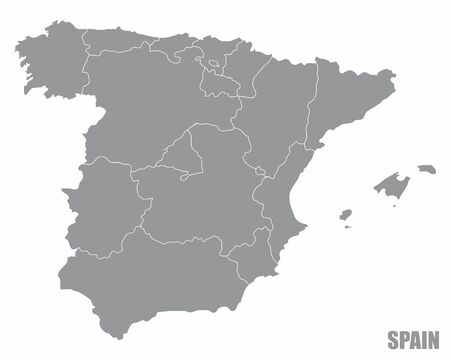The Spain regions map isolated on white background Illustration