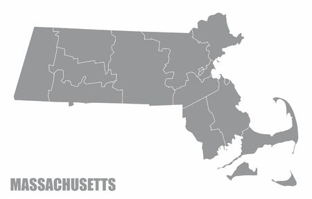 The Massachusetts State County Map isolated on white background