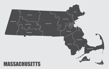 The Massachusetts State County Map with labels