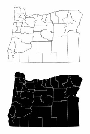 The black and white Oregon State County Maps Vetores