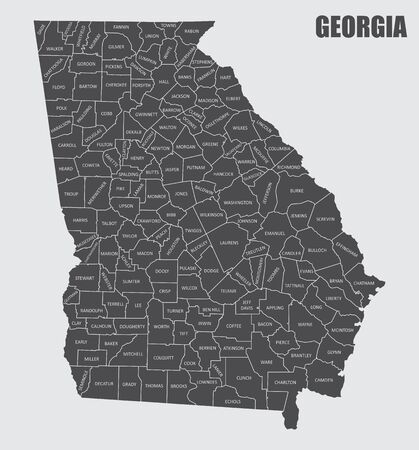 The Georgia State County Map with labels