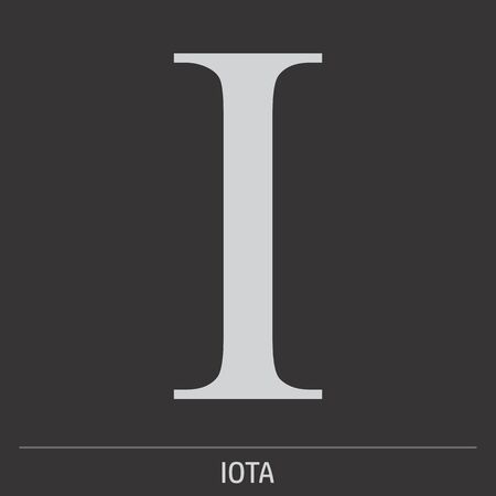 Uppercase Iota greek letter icon on dark background