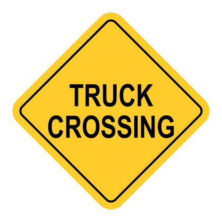 Truck Crossing Traffic Sign isolated on white background