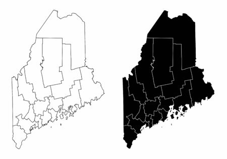 The black and white Maine State County Maps