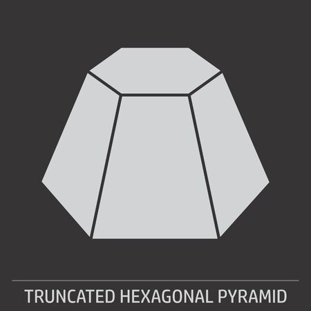A Truncated Hexagonal Pyramid icon on dark background Ilustração