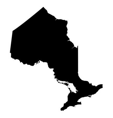 The Ontario province dark silhouette map isolated on white background, Canada Ilustração