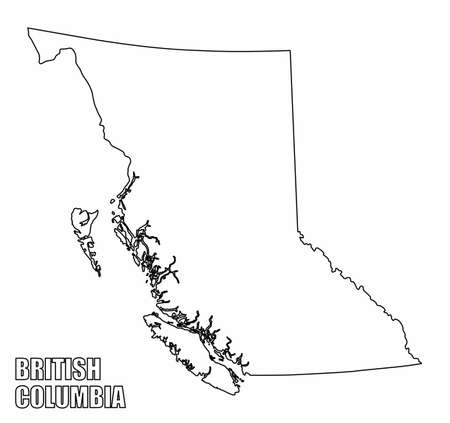 British Columbia province outline map