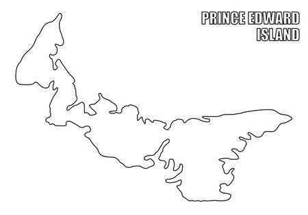 The Prince Edward Island outline map isolated on white background, Canada