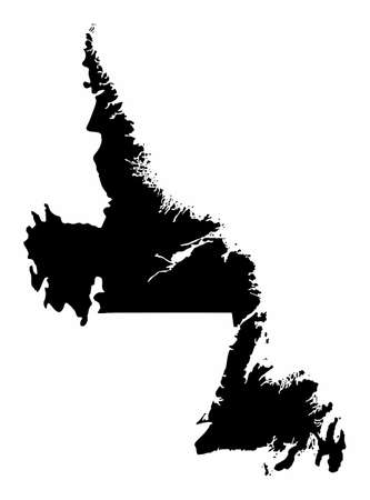 The Newfoundland and Labrador dark silhouette map isolated on white background, Canada