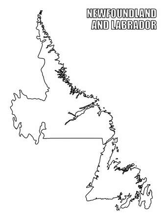 The Newfoundland and Labrador outline map isolated on white background, Canada