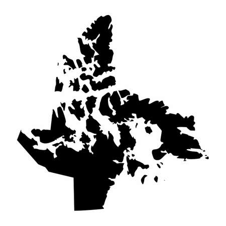 The Nunavut territory dark silhouette map isolated on white background, Canada  イラスト・ベクター素材