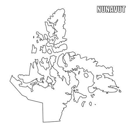The Nunavut territory outline map isolated on white background, Canada