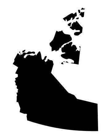 The Northwest Territories dark silhouette map isolated on white background, Canada