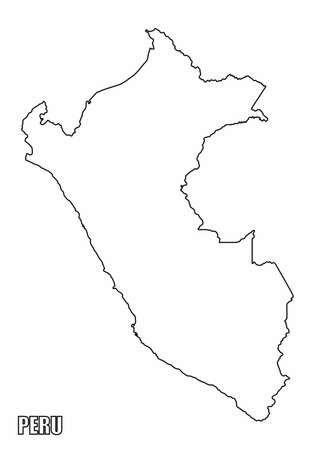 The Peru outline map isolated on white background