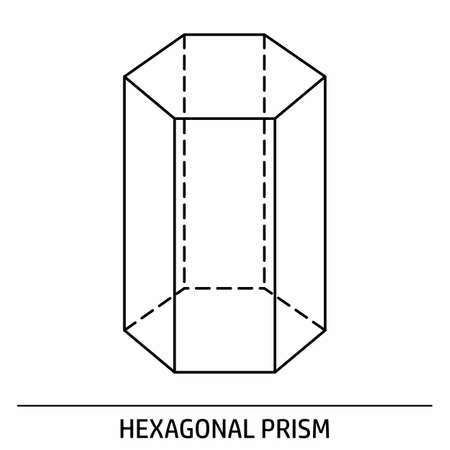 A Hexagonal Prism outline icon on white background