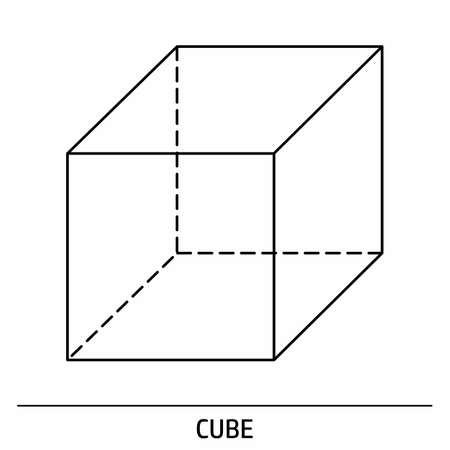 A Cube outline icon on white background  イラスト・ベクター素材