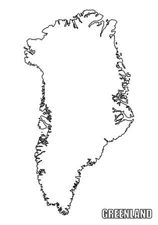 The Greenland outline map isolated on white background