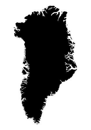 The Greenland dark silhouette map isolated on white background Illustration