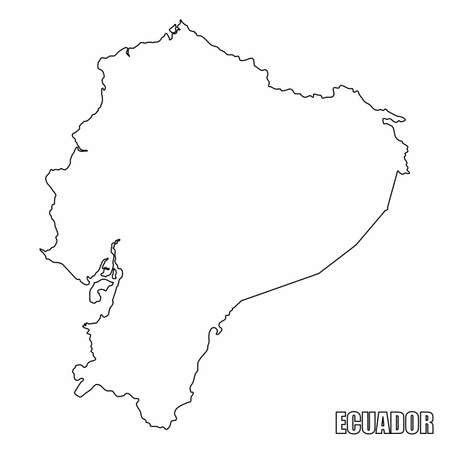 The Ecuador outline map isolated on white background