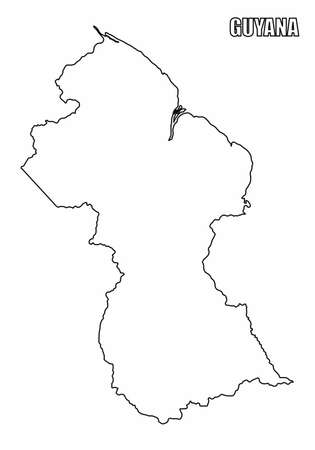 The Guyana outline map isolated on white background