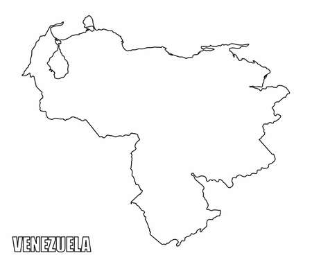 The Venezuela outline map isolated on white background