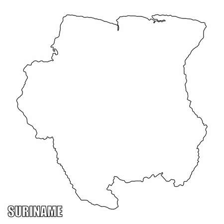 The Suriname outline map isolated on white background