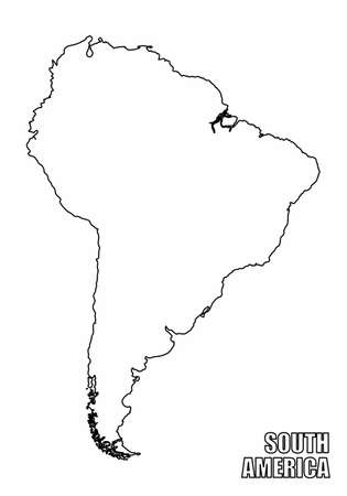 The South America outline map isolated on white background