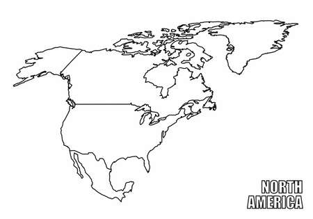 The North America outline map isolated on white background  イラスト・ベクター素材
