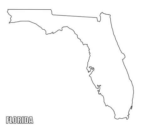 The Florida State outline map isolated on white background  イラスト・ベクター素材