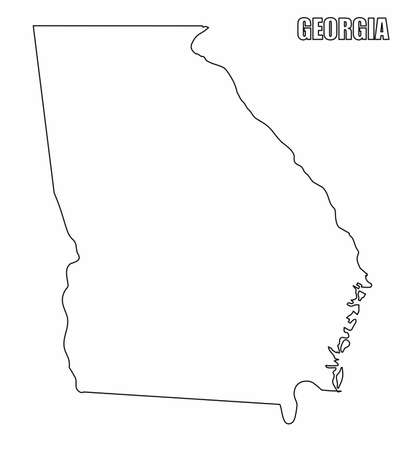 The Georgia State outline map isolated on white background  イラスト・ベクター素材
