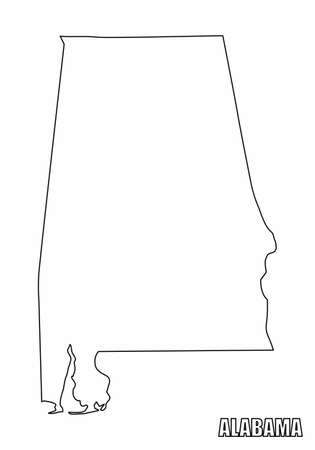 The Alabama State outline map isolated on white background